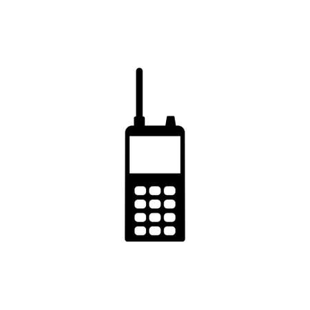 Professional Walkie Talkie Portable Radio. Flat Vector Icon illustration. Simple black symbol on white background. Professional Walkie Talkie Radio sign design template for web and mobile UI element Ilustração