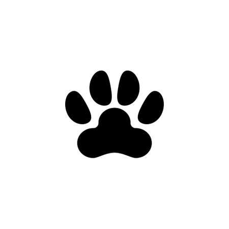 Dog or Cat Paw Print, Animal Imprint. Flat Vector Icon illustration. Simple black symbol on white background. Dog or Cat Paw Print, Animal Imprint sign design template for web and mobile UI element