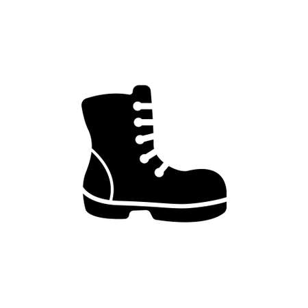 Military or Lumberjack Shoes, Hiking Boot. Flat Vector Icon illustration. Simple black symbol on white background. Military Worker Shoes, Hiking Boot sign design template for web and mobile UI element