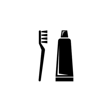 Toothpaste Tube and Toothbrush. Flat Vector Icon illustration. Simple black symbol on white background. Toothpaste Tube and Toothbrush sign design template for web and mobile UI element Ilustração