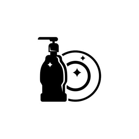Hand Dishwashing Liquid with Clean Plate. Flat Vector Icon illustration. Simple black symbol on white background. Hand Dishwashing Liquid and Plate sign design template for web and mobile UI element