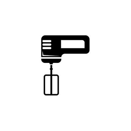 Kitchen Electric Hand Mixer with Whisk. Flat Vector Icon illustration. Simple black symbol on white background. Kitchen Electric Hand Mixer and Whisk sign design template for web and mobile UI element