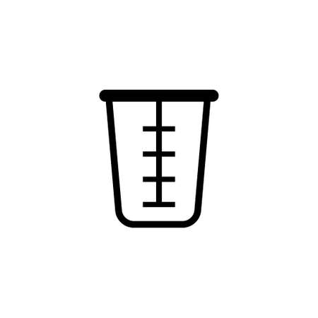 Beaker Glass Cap, Kitchen Measuring Cup. Flat Vector Icon illustration. Simple black symbol on white background. Beaker Glass, Kitchen Measuring Cup sign design template for web and mobile UI element Ilustração