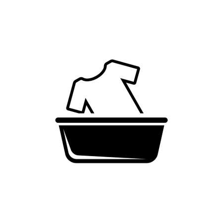 Hand Wash Clothes in Basin, Washing a T-shirt. Flat Vector Icon illustration. Simple black symbol on white background. Hand Wash Clothes in Basin sign design template for web and mobile UI element Ilustração