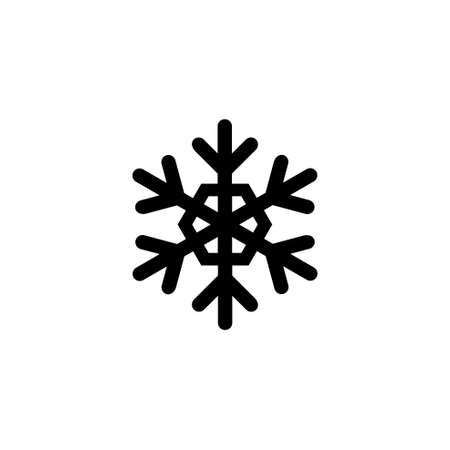 Christmas and Winter Ice Snowflake. Flat Vector Icon illustration. Simple black symbol on white background. Christmas and Winter Ice Snowflake sign design template for web and mobile UI element