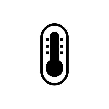 Thermometer, Temperature Measurer Meter. Flat Vector Icon illustration. Simple black symbol on white background. Thermometer, Temperature Measurer sign design template for web and mobile UI element Ilustração