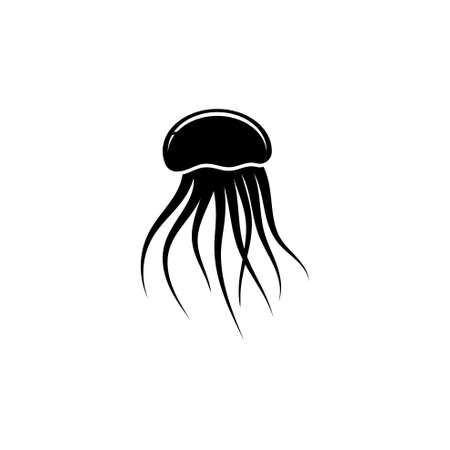 Jellyfish Silhouette, Floating Medusa. Flat Vector Icon illustration. Simple black symbol on white background. Jellyfish Silhouette, Floating Medusa sign design template for web and mobile UI element Ilustração