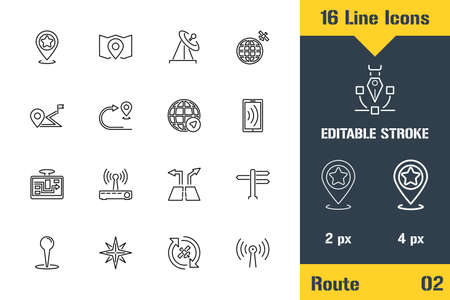 Geo Location, GPS Mapping, Route. Thin line icon - Outline flat vector illustration. Editable stroke pictogram. Premium quality graphics concept for web, logo, branding, ui, ux design, infographics