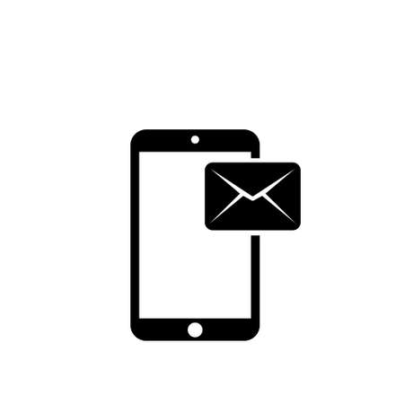 Email Notification on Smartphone Screen. Flat Vector Icon illustration. Simple black symbol on white background. Email Notification on Smartphone sign design template for web and mobile UI element