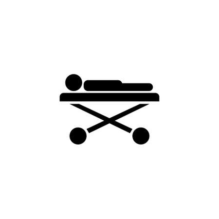 Ill Patient Lying on Medical Roller Bed. Flat Vector Icon illustration. Simple black symbol on white background. Ill Patient Lying on Medical Bed sign design template for web and mobile UI element