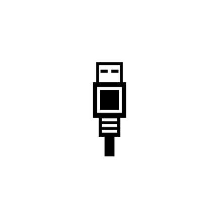 USB Connector for Computer, Charging Cable. Flat Vector Icon illustration. Simple black symbol on white background. USB Connector for Computer sign design template for web and mobile UI element Ilustração