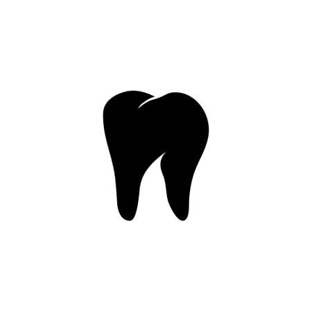 Healthy Human Tooth, Stomatology. Flat Vector Icon illustration. Simple black symbol on white background. Healthy Human Tooth, Stomatology sign design template for web and mobile UI element