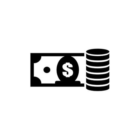 Dollar Banknote with Money Coin Stack. Flat Vector Icon illustration. Simple black symbol on white background. Dollar Banknote with Money Coin Stack sign design template for web and mobile UI element Ilustração