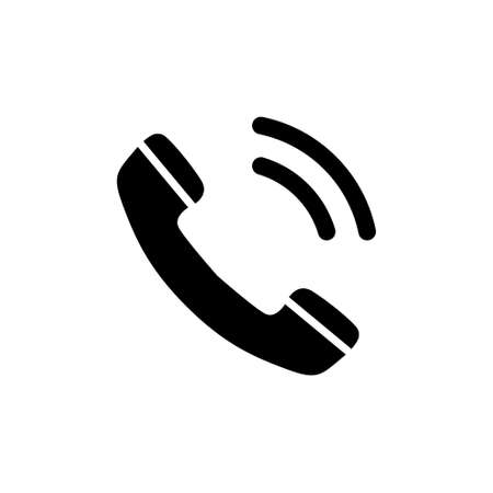 Telephone Receiver Call, Phone Handset. Flat Vector Icon illustration. Simple black symbol on white background. Telephone Receiver Call Phone Handset sign design template for web and mobile UI element