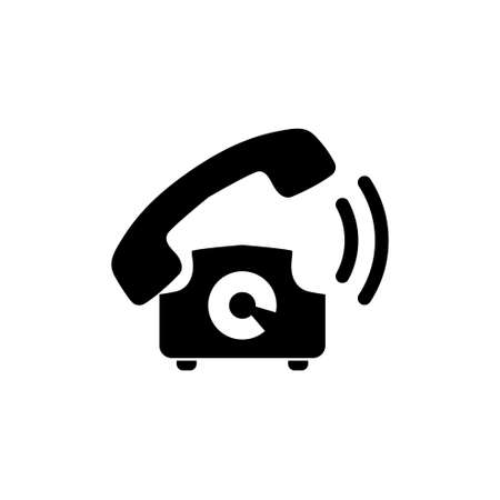 Old Telephone Ringing, Phone Call. Flat Vector Icon illustration. Simple black symbol on white background. Old Telephone Ringing, Phone Call sign design template for web and mobile UI element Ilustração
