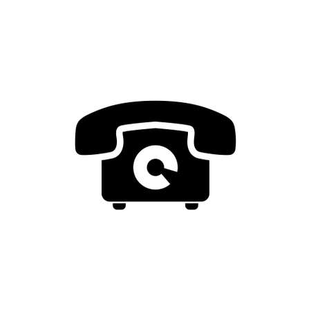 Retro Telephone Silhouette, Old Phone. Flat Vector Icon illustration. Simple black symbol on white background. Retro Telephone Silhouette, Old Phone sign design template for web and mobile UI element