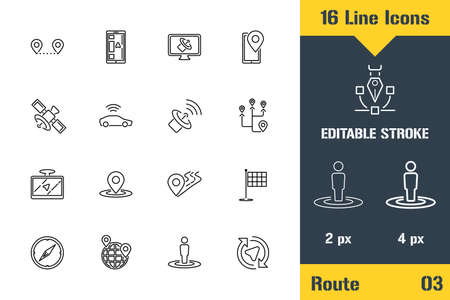 Route Location, GPS, Navigation. Thin line icon - Outline flat vector illustration. Editable stroke pictogram.