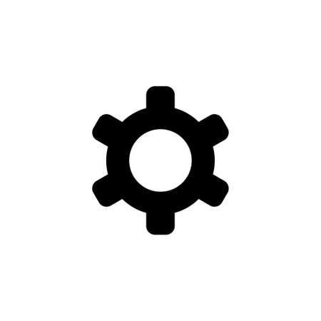 Gear, Setting Cog, Cogwheel or Gearwheel. Flat Vector Icon illustration. Simple black symbol on white background. Gear, Setting Cog Wheel, Cogwheel sign design template for web and mobile UI element Ilustração
