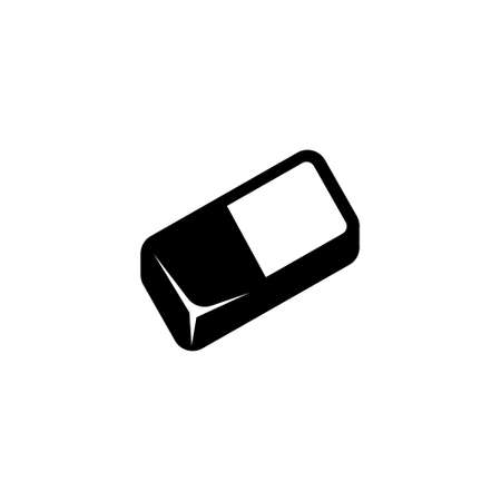 Eraser Rubber, Erasing Pencil Tool. Flat Vector Icon illustration. Simple black symbol on white background. Eraser Rubber, Erasing Pencil Tool sign design template for web and mobile UI element