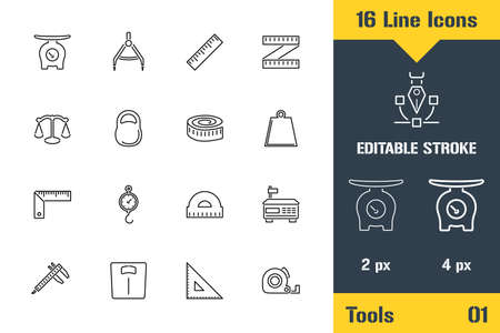 Measurement Tools, Scales Weighing. Thin line icon - Outline flat vector illustration. Editable stroke pictogram. Ilustração