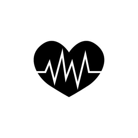 Heart Pulse, Heartbeat Ecg Cardiogram. Flat Vector Icon illustration. Simple black symbol on white background. Heart Pulse, Heartbeat Ecg Cardiogram sign design template for web and mobile UI element