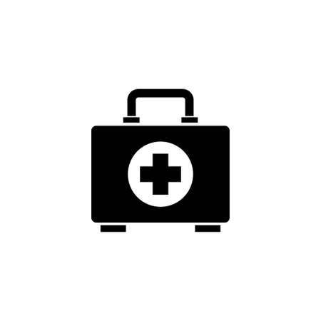 First Aid Kit, Medical Emergency Box. Flat Vector Icon illustration. Simple black symbol on white background. First Aid Kit, Medical Emergency Box sign design template for web and mobile UI element Ilustração