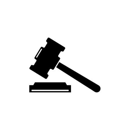 Judge Gavel, Auction Hammer, Judgment Mallet. Flat Vector Icon illustration. Simple black symbol on white background. Judge Gavel, Auction Hammer sign design template for web and mobile UI element