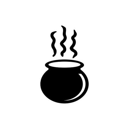 Boiled Cauldron, Halloween Witch Caldron. Flat Vector Icon illustration. Simple black symbol on white background. Boiled Cauldron, Halloween Caldron sign design template for web and mobile UI element Ilustração