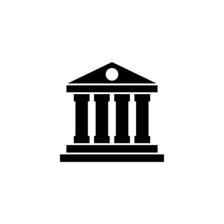 Bank or Court, Museum or Theater Building. Flat Vector Icon illustration. Simple black symbol on white background. Bank Court Museum Theater Library sign design template for web and mobile UI element Ilustração