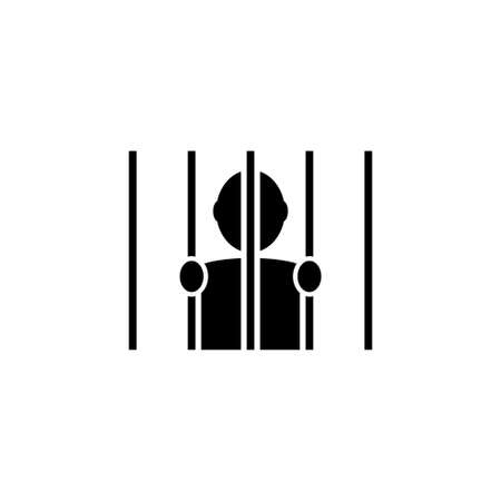 Prisoner Man Hold Bars, Imprisonment. Flat Vector Icon illustration. Simple black symbol on white background. Prisoner Holding Hands Behind Bars sign design template for web and mobile UI element Reklamní fotografie - 160478550