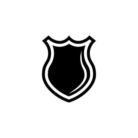 Police Officer Badge, Sheriff Shield. Flat Vector Icon illustration. Simple black symbol on white background. Police Officer Badge, Sheriff Shield sign design template for web and mobile UI element