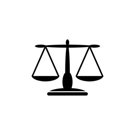 Equilibrium Scale Balance, Justice Libra. Flat Vector Icon illustration. Simple black symbol on white background. Equilibrium Scale Balance, Libra sign design template for web and mobile UI element