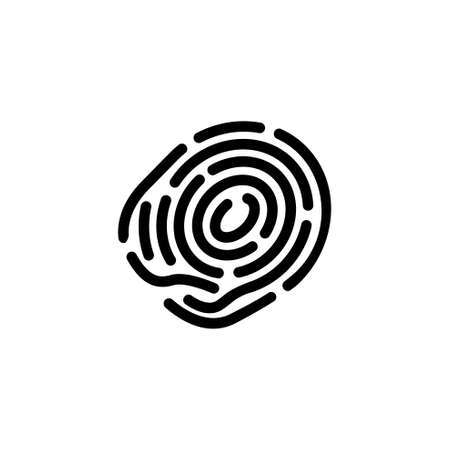 Fingerprint, Human Finger Print, Thumbprint. Flat Vector Icon illustration. Simple black symbol on white background. Fingerprint, Human Finger Print sign design template for web and mobile UI element Ilustração