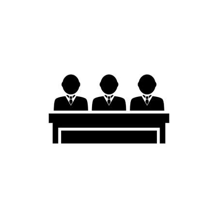 Honorable Jury Group, Committee Jurors. Flat Vector Icon illustration. Simple black symbol on white background. Honorable Jury Group Committee Jurors sign design template for web and mobile UI element