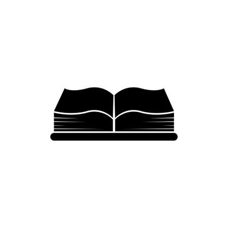 Open Big Book, Encyclopedia or Bible. Flat Vector Icon illustration. Simple black symbol on white background. Open Big Book, Encyclopedia or Bible sign design template for web and mobile UI element