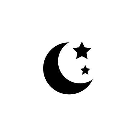 Moon and Stars, Night Sky, Nighttime. Flat Vector Icon illustration. Simple black symbol on white background. Moon and Stars, Night Sky, Nighttime sign design template for web and mobile UI element
