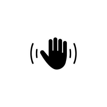Hello Weave Hand, Waving Palm, Hi Arm. Flat Vector Icon illustration. Simple black symbol on white background. Hello Weave Hand, Waving Palm, Hi Arm sign design template for web and mobile UI element Ilustração