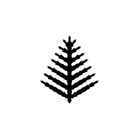 Fern Branch, Exotic Tropical Plant, Leaf. Flat Vector Icon illustration. Simple black symbol on white background. Fern Branch, Exotic Tropical Plant sign design template for web and mobile UI element