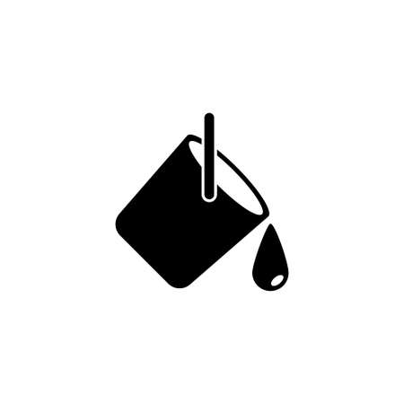 Paint Can and Ink Drop, Bucket Pouring Out. Flat Vector Icon illustration. Simple black symbol on white background. Paint Can, Bucket Pouring Out sign design template for web and mobile UI element