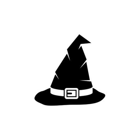 Halloween Witch Hat, Wizard Cone Cap. Flat Vector Icon illustration. Simple black symbol on white background. Halloween Witch Hat, Wizard Cone Cap sign design template for web and mobile UI element