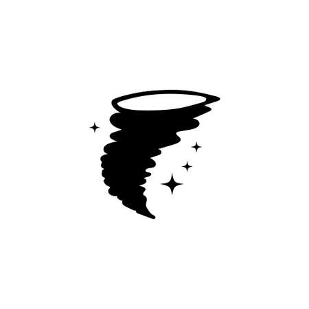 Storm Hurricane Whirlwind, Magic Tornado. Flat Vector Icon illustration. Simple black symbol on white background. Hurricane Whirlwind, Magic Tornado sign design template for web and mobile UI element