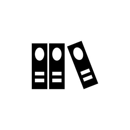 Organize Office Folders, Stack Books. Flat Vector Icon illustration. Simple black symbol on white background. Organize Office Folders, Stack Books sign design template for web and mobile UI element