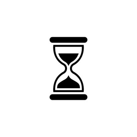 Hourglass Time, Sand Clock, Minute Timer. Flat Vector Icon illustration. Simple black symbol on white background. Hourglass Time, Sand Clock, Timer sign design template for web and mobile UI element Ilustrace