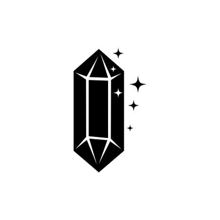 Sparkle Crystal, Gem Jewel, Precious Stone. Flat Vector Icon illustration. Simple black symbol on white background. Sparkle Crystal, Gem Jewel Stone sign design template for web and mobile UI element