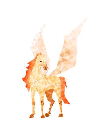 Colorful geometric silhouette of Pegasus animal on white background Stock Photo