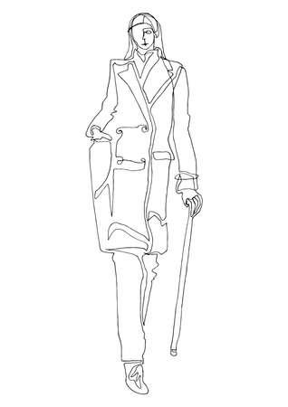 Fashion silhouette model in single line art style