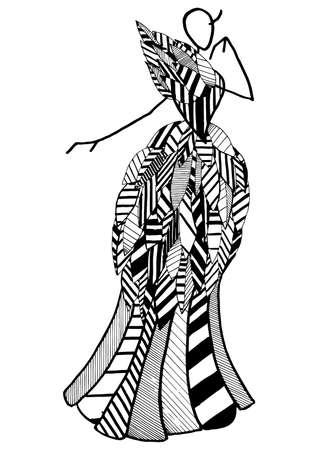 Art fashion silhouette of costume posing in the style of an abstract pattern with geometric elements in black and white graphics