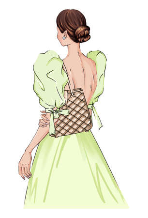 Hand drawn illustration woman in a dress with fashion bag. Beautiful fashion art girl stands with her back in a beautiful dress. Green evening dress illustration, fashion handbag diva