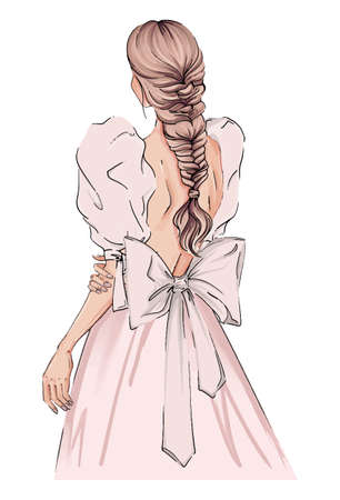 Hand drawn illustration woman in light pink dress. Beautiful fashion art girl stands with her back in a beautiful dress with big sleeves and bow. evening dress illustration, fashion diva illustration Ilustración de vector