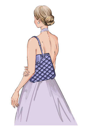 Hand drawn illustration woman in a dress with fashion bag. Beautiful fashion art girl stands with her back in a blue dress. bride woman with blue handbag. Bridal hairstyle woman illustration Ilustración de vector